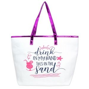 Handbags - 'Drink In My Hand Toes In The Sand' Beach Tote Bag